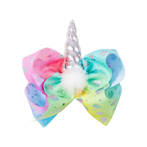 Large Unicorn Hair Bows With Elastic Band for Cheerleader Girls Pack of 4 9