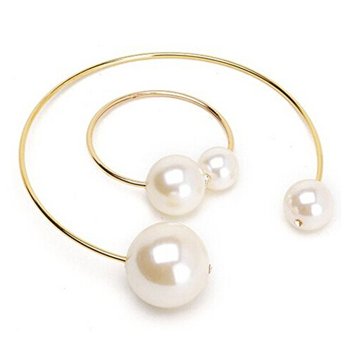 cytprimedesign Fashion Concise Shiny Gold Wire Hook Loop Collar Big Pearl Necklace Bracelet (bracelet&necklace) Pearl Wire Necklace