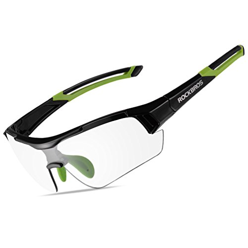 RockBros Photochromic Sunglasses for Men Women Safety Cycling Glasses UV Protection Outdoor Sport Sunglasses Black Green