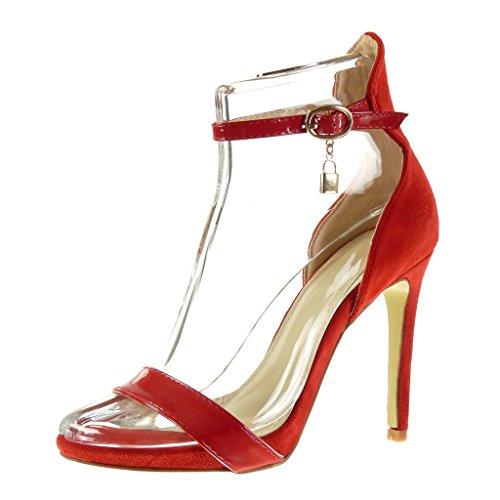 Angkorly - Zapatillas de Moda Tacón escarpín Sandalias stiletto Correa de tobillo sexy mujer Hebilla brillantes Talón Tacón de aguja alto 11 CM - Rojo