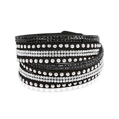 RIAH FASHION Bohemian Faux Suede Leather Wrap Multi Layer Bracelet - Boho Wrist Adjustable Cuff Bangle Crystal Rhinestone/Bead Embellishment (Stud Mix - Black/Silver)