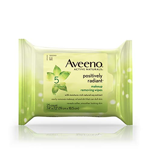 Texture Evens Skin And Tone (Aveeno Positively Radiant Oil-Free Makeup Removing Wipes to Help Even Skin Tone and Texture with Moisture-Rich Soy Extract, 25 ct.)