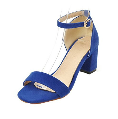 VogueZone009 Sandals Buckle Kitten Solid Heels Frosted Toe Open Women Blue rY4wg8qr