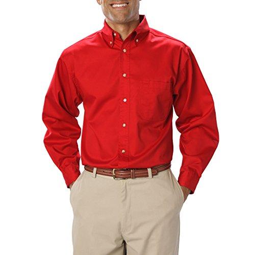 Blue Generation BG7217 - Men's Long Sleeve Teflon Treated Twill (2X-Large Tall, Red) - Teflon Treated Twill Shirts