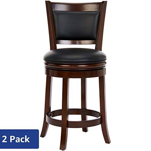 Ball & Cast Jayden Hardwood Counter-Height Swivel Bar Stool with Faux-Leather Upholstery, 24-Inch, Set of 2, Bayou Brown