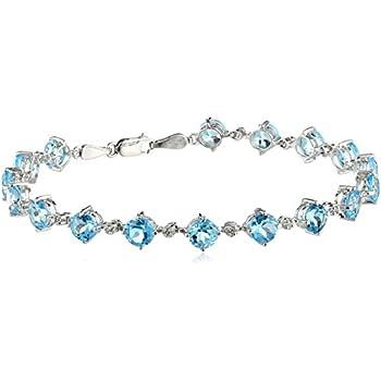 "14K White Gold Blue Topaz Round with Diamond Bracelet, 7.25"""