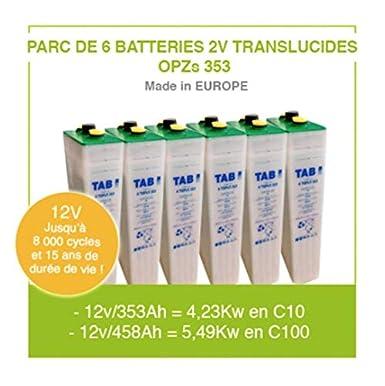 Baterías para panel solar 6 baterías de 2 V translúcidas OPZS 353 para instalación autónoma solar y energía eólica de alta gama hasta 11.000 ciclos y 20 años de vida útil.