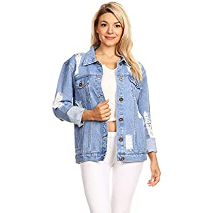 Anna-Kaci Womens Oversized Loose Jean Coats Long Sleeve Boyfriend Denim Jacket Coat