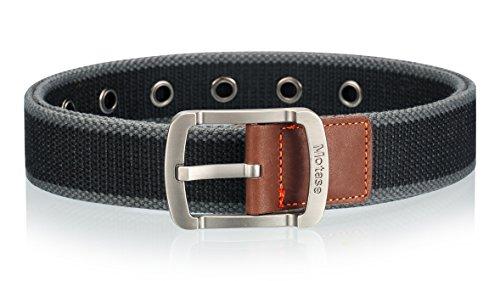 Motase Unisex Canvas Belt Grommet Casual Waist Belt Black Gray XL Plus Size for women