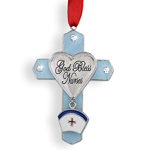 (BANBERRY DESIGNS Gifts for Nurses - Nurse Gifts- God Bless Nurses Jeweled Ornament Cross with Hat Charm Metal 3