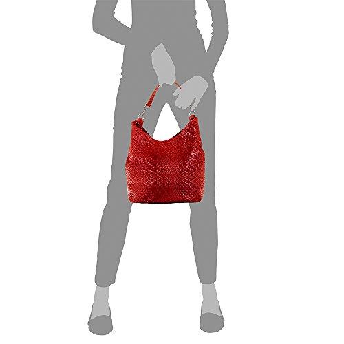 piel TOTE cm genuino Rojo cuero Bolso grabado de mujer piel Bolso NEGRO FIRENZE ITALY PELLE 32x26x18 auténtica Color VERA geométriHrzwbcGtvS ITALIANA ARTEGIANI MADE IN Aqv0Rzwf