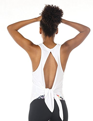 icyzone Sexy Yoga Tops Workout Clothes Racerback Tank Top For Sport Women (S, White)