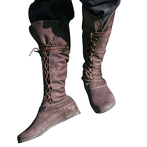 Dellytop Mens Medieval Boots Pointed Toe Lace up Costume Forest Flat Mid Calf Shoes