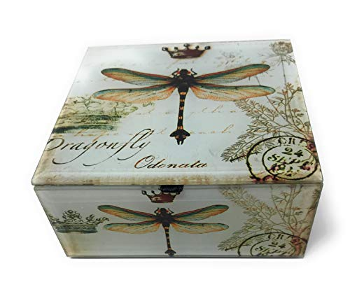 Value Arts Dragonfly with Crown Glass Keepsake Box, Beveled Edges, Velvet Lined, 4.7 Inches Square