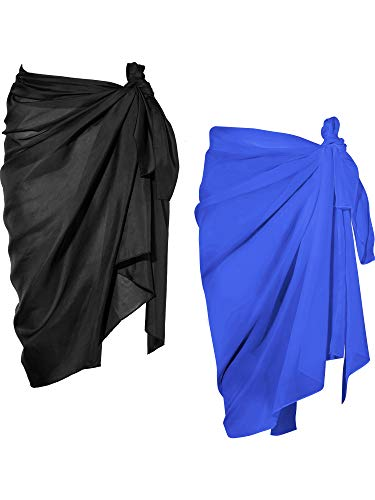 Chuangdi 2 Pieces Women Beach Wrap Sarong Cover Up Chiffon Swimsuit Wrap Skirts (Black and Blue, Long A)