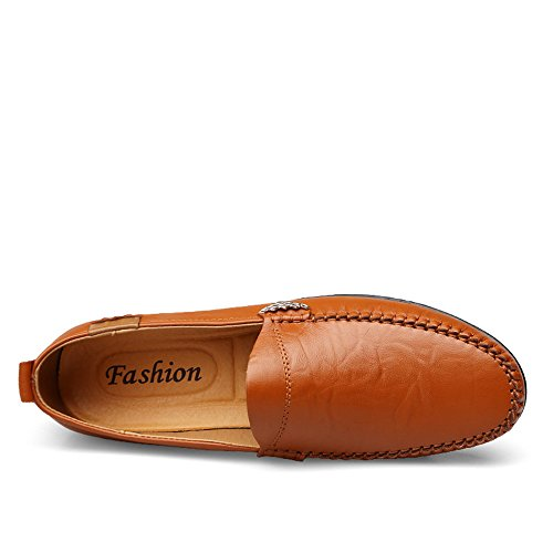 Light Casual Hombre Slip Conducción de Brown para de Zapatos Mocasines en Cuero Genuino Respirables ExqfZ7