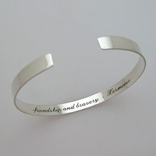 Personalized Sterling Silver Cuff Bracelet Bridesmaid Jewelry Inspirational Quote Cuff Bracelet Skinny Bangle Personalized Silver Cuff Gift for her narrow bracelet Engraved Silver Cuff