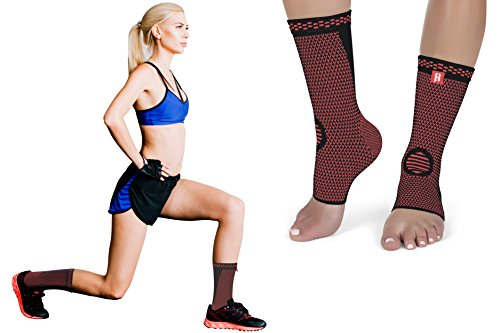 Plantar Fasciitis Ankle Brace by RIMSports - Ideal Ankle Compression Sleeve for Ankle Support Achilles Tendon Support - Provides Superior Ankle Support -Best Brace Compression Ankle Sleeve (Red, (Extended Ankle Wrap)