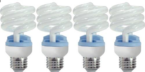 Eight Light Spiral - GE Lighting 62906 Reveal Spiral CFL 13-Watt (60-watt replacement) 800-Lumen T3 Spiral Light Bulb with Medium Base, 4-Pack