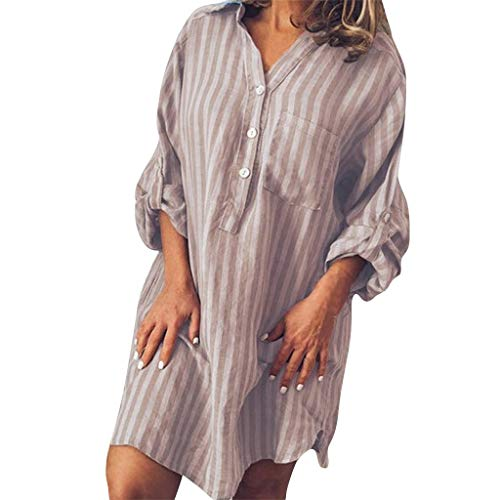 YKARITIANNA Fashion Women Summer Casual Button Striped Print Short Sleeve V-Neck Dress 2019 Summer Brown]()