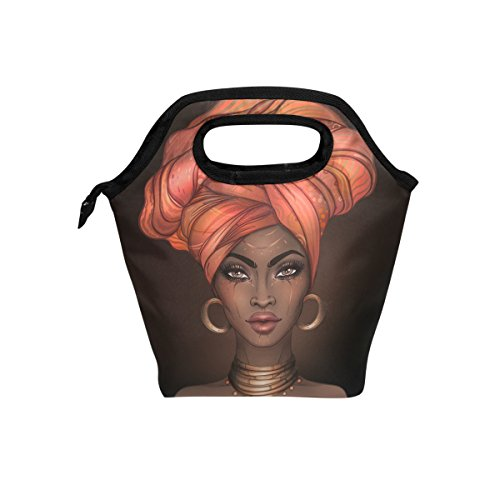 Insulated Lunch Tote Bag African American Woman Travel Picnic Lunch Handbags Portable Zipper Lunch Bag Box