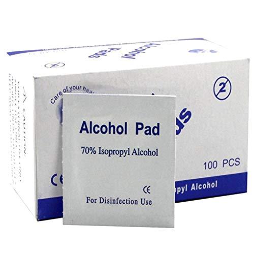 Mengonee 100PCS / Set de Maquillaje portátil hisopos con Alcohol Pads toallitas antisépticas de Limpieza Limpiador de esterilización de Primeros Auxilios ...