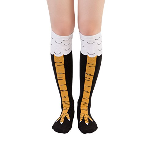 Zoopwon Crazy Funny Chicken Legs Boots Knee/Thigh High Novelty Socks Funny Gag Gifts (Short Yellow Socks)