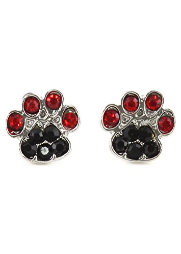 Dog Paw Print Stud Earrings Silver Tone EK45 Red Black Crystal Canine Posts Fashion Jewelry