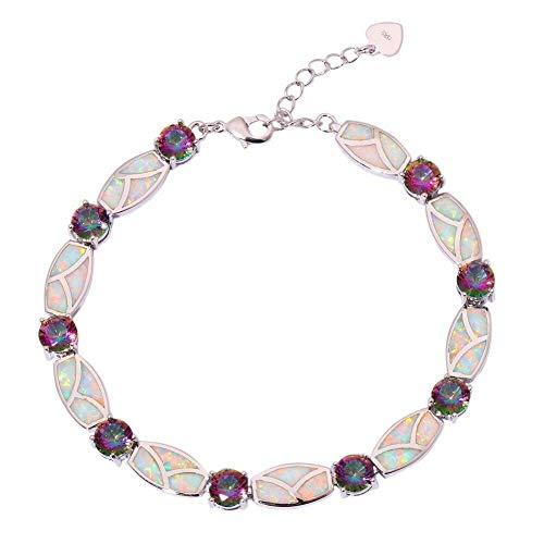 White Opal Rainbow Topaz Silver Women Jewelry Gift Gemstone Chain Bracelet OS564