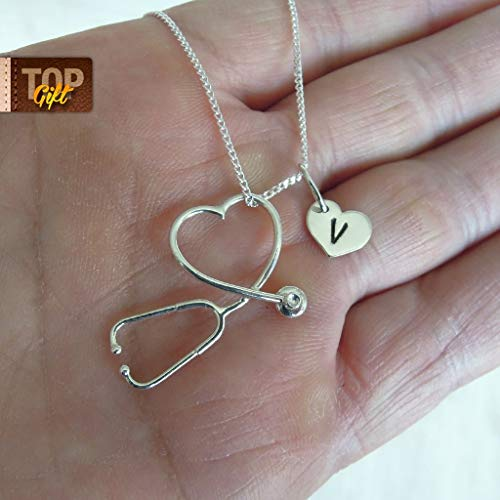 Medical Necklace Stethoscope Jewelry With Personalized Heart Charm Cardiology RN Gift Graduation Nurse Sterling Silver Appreciation Med School High Quality Keepsake Pendant Handmade