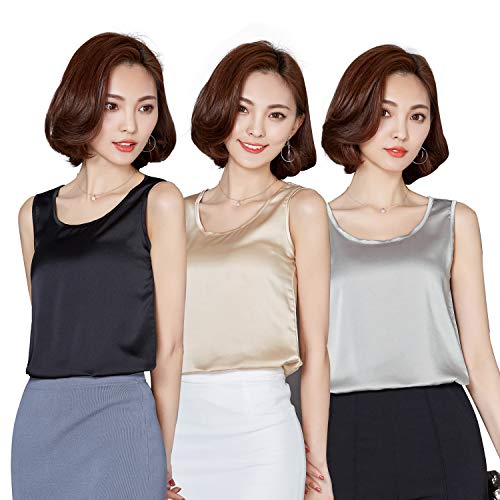(Alizeal Womens 3 Pieces Silk-Feeling Charmeuse Daily Tank Tops, Black/Champagne/Silver, 04-L)
