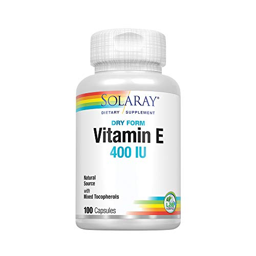 Solaray® Vitamin E, Dry 400 IU w/Mixed Tocopherols | Non-Oily | Healthy Cardiac Function, Antioxidant Activity & Skin Health Support | 100 Capsules