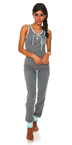 - U.S. Polo Assn. Womens 2 Piece T-Shirt Lounge Pants Pajama Sleepwear Set Charcoal Heather Large