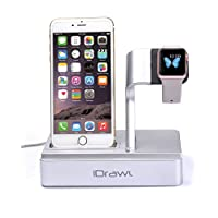 Apple Watch Stand, iPhone Docking Station, i-DRAWL Charging Stand Portable 2 in 1 Multifunctional Charger Dock Cradle for iWatch and all Smart Phone