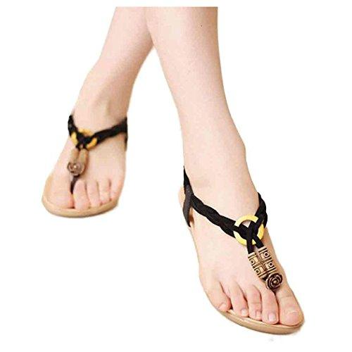 Zomersandalen, Inkach Zomer Bohemen Sandalen Strandschoenen Sweet Beaded Sandals Clip Toe Zwart