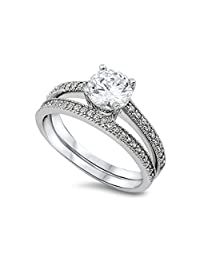 Noureda Sterling Silver Classy Bridal Set Eternity Band with Pave Simulated Diamond and Centered Clear Round Solitaire Simulated Diamond on Four Prong Setting, Band Width of 2MM and Center Stone Size of 7MM