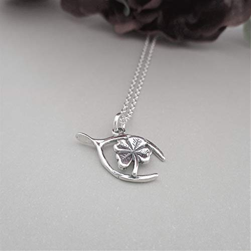 Shamrock and Wishbone Necklace Lucky Charms Necklace Silver Clover Necklace Four Leaf Clover jewelry