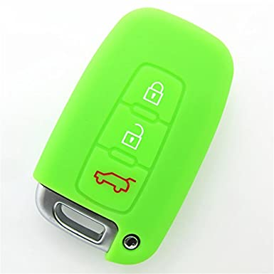 Hwota 3 Buttons Silicone Car Remote Key Case Cover Shell for HYUNDAI KIA Green