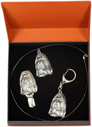 Dog Keyring Necklace and clipring in Casket ArtDog Shih Tzu Limited Edition Prestige Set