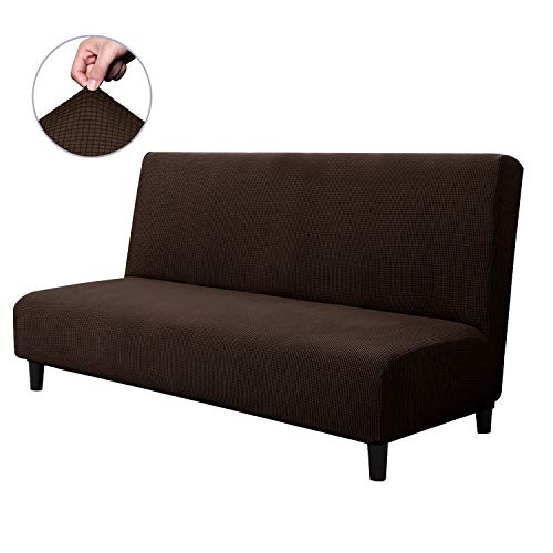 CHUN YI Armless Sofa Slipcover Elastic Fitted Full Folding Sofa Bed Cover Without Armrests,Removable Machine Washable Non-Slip Furniture Protector for Futon Couch Bench (Sofa, Chocolate) (Beds Armchair Dog)