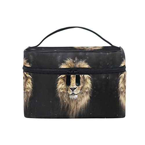 Art Black Lion King Women Makeup Bag Travel Cosmetic Bags Toiletry Train Case Beauty Pouch Organizer -