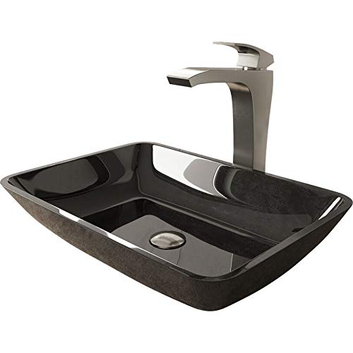 VIGO Rectangular Gray Onyx Glass Vessel Bathroom Sink Set With Blackstonian Vessel Faucet In Brushed Nickel