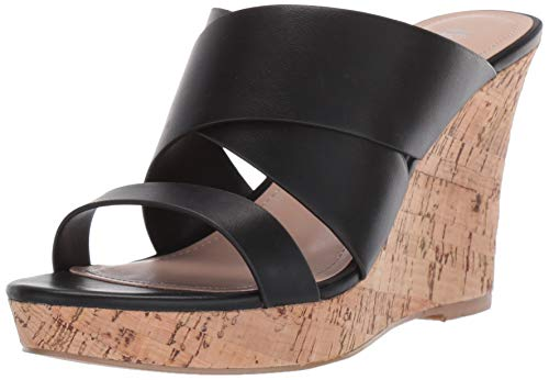 CHARLES BY CHARLES DAVID Women's Leslie Wedge Sandal, Black, 8 M US