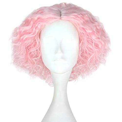 (Miss U Hair Synthetic Short Fluffy Curly Hair Men Boy Party Cosplay lolita Wig Halloween Adult(Pink))