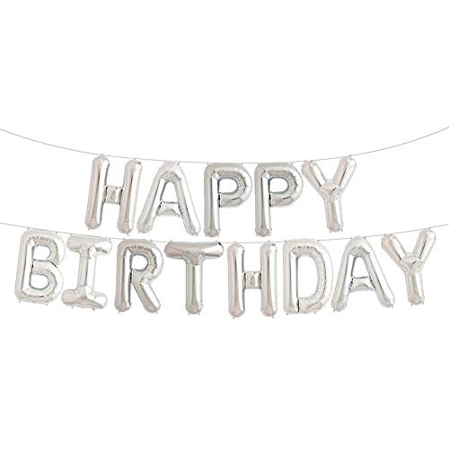 Balloon Silver Birthday (Uever Happy Birthday Balloons, Silver Happy Birthday Banner Foil Letter Balloons for Birthday Decorations and Party Supplies)