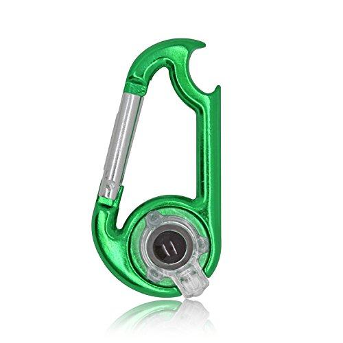 Grenhaven Karabiner mit LED und einem Flaschenöffner Grün Schlüsselanhänger Karabinerhaken
