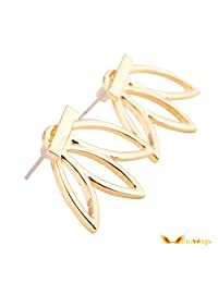 1 Pair Flower Stud Earrings for Women Fashion Designer Hollow Out Leaf Gold Simple Ear Ring Jewelry
