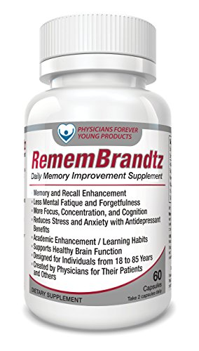 RememBrandtz Memory Pills -1 Month Supply- All-Natural Best Focus & Concentration Improvement Formula, with Bacopa Monierri, Vitamin E and Saffron Extract Improve Mental (Pills 1 Month Supply)