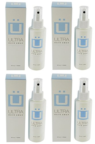 Ultra Hair Away - 4 Bottles - Hair Growth Inhibitor Permanent Hair Removal Remover Spray