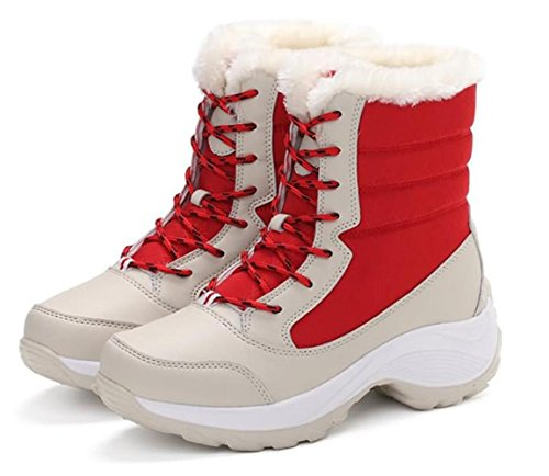 de Más mujer de red de invierno de botas alta pierna bota Botas cachemira invierno plataforma de de con 37 cordones RdBwB58qf